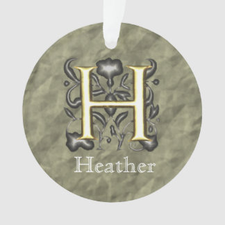 H - Embossed Vintage Monogram (Gold) Ornament