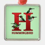 H está para el colibrí ornamento para reyes magos