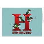 H está para el colibrí tarjeta de felicitación