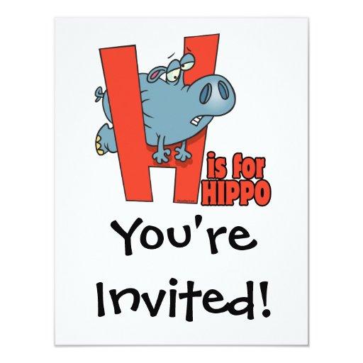 """H está para el dibujo animado divertido del invitación 4.25"""" x 5.5"""""""