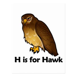 H está para el halcón tarjeta postal