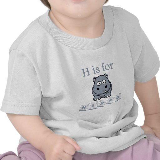 H está para el hipopótamo camiseta