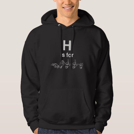 H está para la sudadera con capucha de los hombres