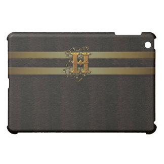 H Faux Brown Leather Satin Gold Monogram  iPad Mini Cover