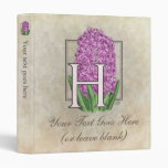 H for Hyacinth Flower Monogram Small Vinyl Binder