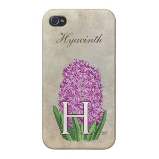 H for Hyacinths Flower Monogram Case For iPhone 4