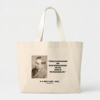H.G. Wells Crude Classifications False Curse Life Large Tote Bag