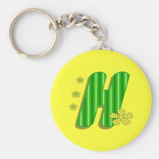 h green monogram key chains