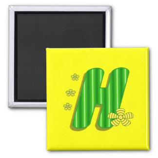 h green monogram 2 inch square magnet