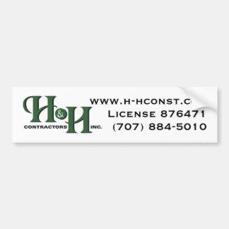 H&H Contractors Inc. Bumper Sticker Car Bumper Sticker