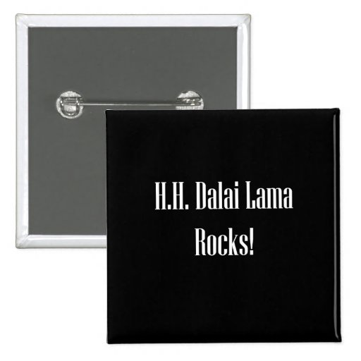 H.H. ¡Rocas de Dalai Lama! Pin Cuadrada 5 Cm