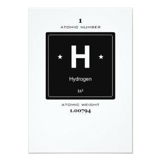 """H, hidrógeno (elementos químicos) invitación 5"""" x 7"""""""