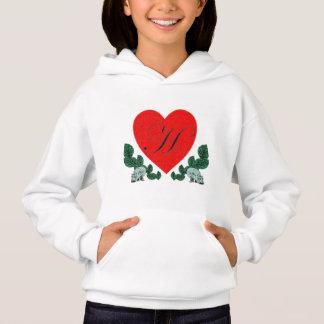 H in a heart hoodie
