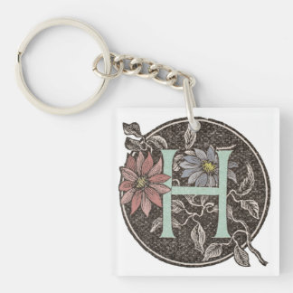 H Initial Cap Keychain with Floral Design