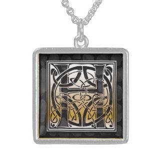"H Initial Monogram ""Celtic Black Stone"" Necklaces"