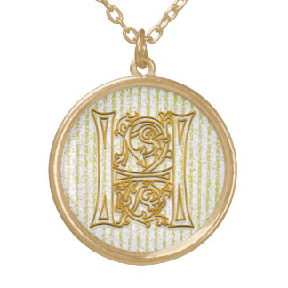 """H Initial Monogram """"Gold Pin Stripe"""" Necklace"""
