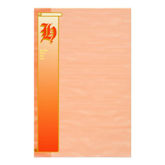 H Initial Peach Sunrise Fine Lined Stationery Stationery