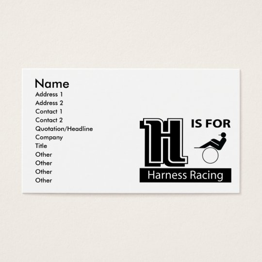 H Is For Harness Racing Business Card