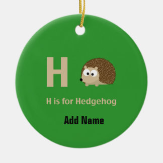 H is for Hedgehog Ceramic Ornament