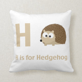 H is for Hedgehog Throw Pillow