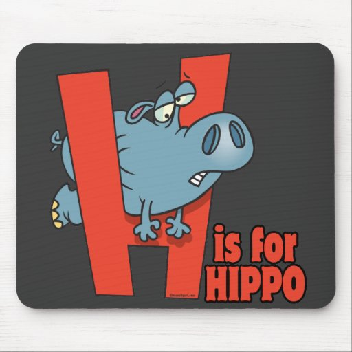 H is for hippo funny alphabet cartoon mouse pad