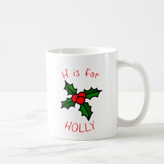 H is for Holly - Festive  Holiday Coffee Mug