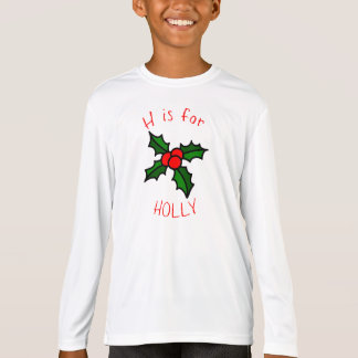 H is for Holly Kids Long Sleeve Holiday T-Shirt