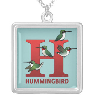 H is for Hummingbird Silver Plated Necklace