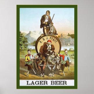 H. & J. Lager Beer ~ 1870s ~ Vintage Advertising Poster