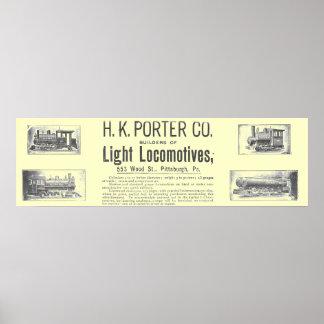 H K Porter & Co Light Locomotives Poster
