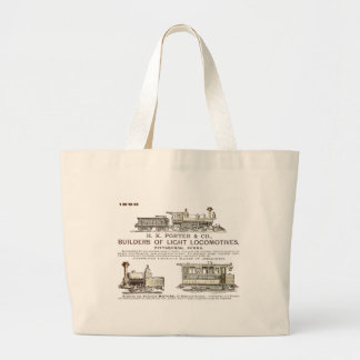 H K Porter & Company Railroad Locomotives Large Tote Bag