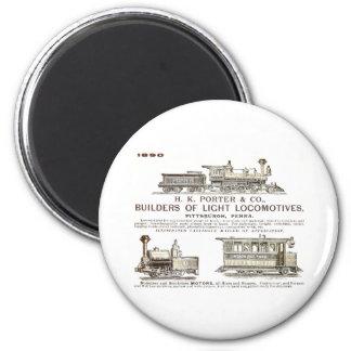 H K Porter & Company Railroad Locomotives 2 Inch Round Magnet