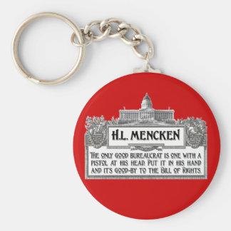 H.L.Mencken on Bureaucrats Basic Round Button Keychain