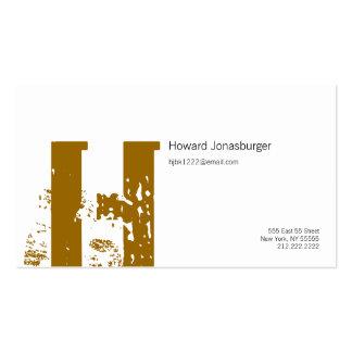 H Letter Alphabet Business Card Brown