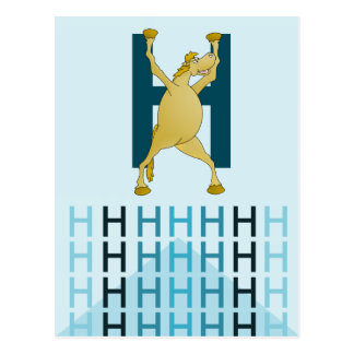 H Letter  Light blue card Flexible pony bunting. Postcard