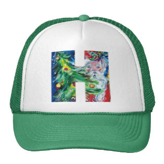 H LETTER / SANTA WITH CHRISTMAS TREE MONOGRAM TRUCKER HAT