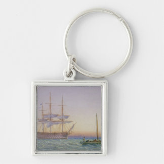 H.M. Frigates at Anchor Silver-Colored Square Keychain