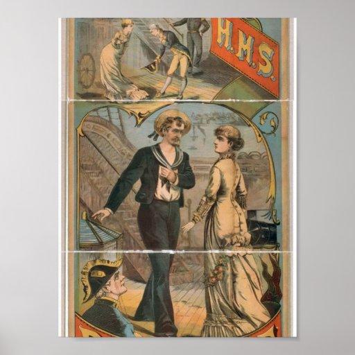 H.M.S. Teatro del vintage del delantal Posters