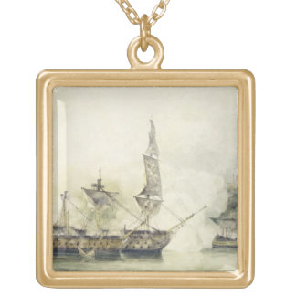H.M.S. Victory at the Battle of Trafalgar, 1805, ( Square Pendant Necklace