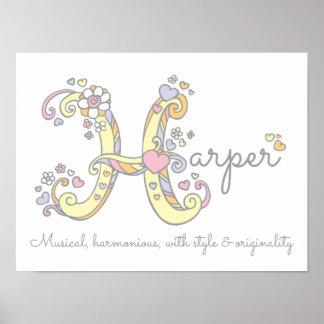 H monogram art Harper girls name meaning poster