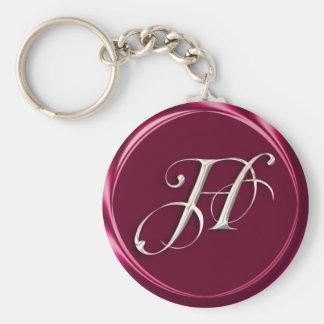 H-monogram Basic Round Button Keychain