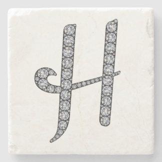 H monogram bling stone coaster