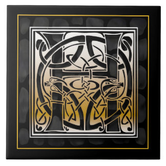 H Monogram Celtic Black Stone Ceramic Tiles