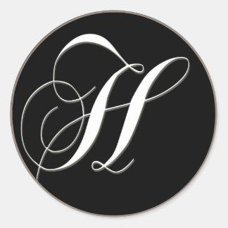 H monogram - elegant black and white classic round sticker