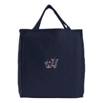 H monogram floral butterfly embroidered tote bag