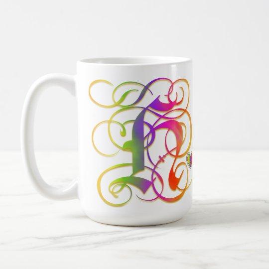 "H Monogram ""Gothic Rainbow"" Mugs Cups and Steins"