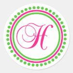 H Monogram (Hot Pink / Green Dot Circle) Classic Round Sticker
