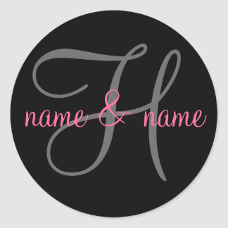 """H"" monogram label - personalize names Classic Round Sticker"