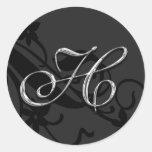 H Monogram Letter Wedding Envelope Seal Sticker