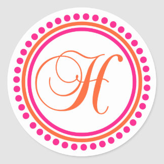 H Monogram (Pink / Orange Dot Circle) Classic Round Sticker